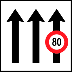 Traffic sign of Switzerland: <a href='/en/switzerland/overview/speed-limit'>Maximum speed</a> of a <a href='/en/switzerland/overview/lane'>lane</a>