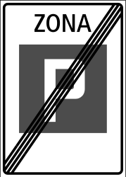 Traffic sign of Switzerland: End of the parking zone