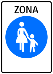 Traffic sign of Switzerland: Begin of a zone for pedestrians