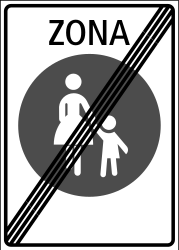 Traffic sign of Switzerland: End of the zone for pedestrians