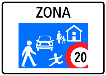 Traffic sign of Switzerland: Begin of a residential area