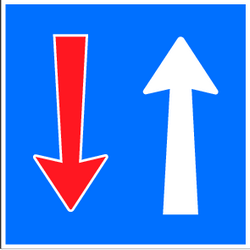 Traffic sign of Switzerland: Road narrowing, oncoming drivers have to give way