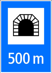 Traffic sign of Switzerland: Begin of a tunnel with indicated length