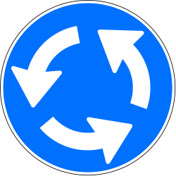 Traffic sign of Switzerland: Mandatory direction of the roundabout
