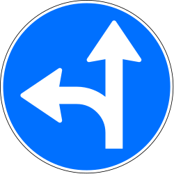 Traffic sign of Switzerland: Driving straight ahead or turning left mandatory