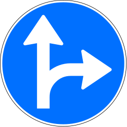 Traffic sign of Switzerland: Driving straight ahead or turning right mandatory