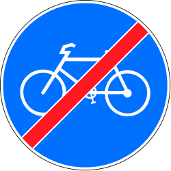Traffic sign of Switzerland: End of the path for cyclists