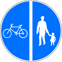 Traffic sign of Switzerland: Mandatory divided path for pedestrians and cyclists