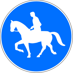 Traffic sign of Switzerland: Mandatory path for equestrians