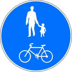 Traffic sign of Switzerland: Mandatory shared path for pedestrians and cyclists