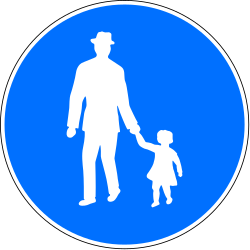 Traffic sign of Switzerland: Mandatory path for pedestrians