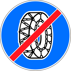 Traffic sign of Switzerland: Removing snow chains mandatory