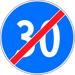 Traffic sign of Switzerland: End of the minimum speed