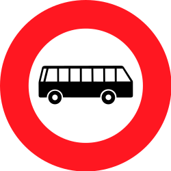 Traffic sign of Switzerland: Buses prohibited