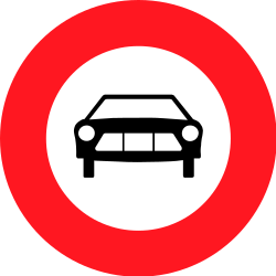 Traffic sign of Switzerland: Cars prohibited