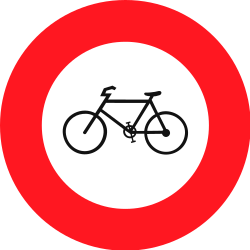 Traffic sign of Switzerland: Cyclists prohibited