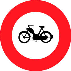 Traffic sign of Switzerland: Mopeds prohibited