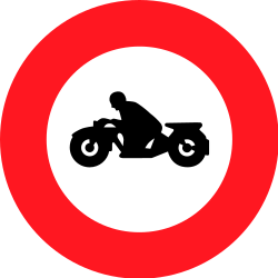 Traffic sign of Switzerland: Motorcycles prohibited
