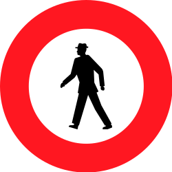 Traffic sign of Switzerland: Pedestrians prohibited