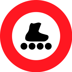 Traffic sign of Switzerland: Skaters prohibited