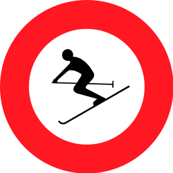 Traffic sign of Switzerland: Skiers prohibited
