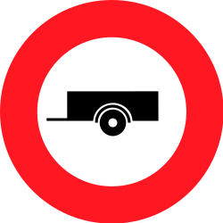 Traffic sign of Switzerland: Trailers prohibited