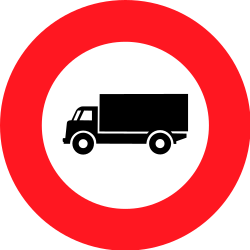 Traffic sign of Switzerland: Trucks prohibited