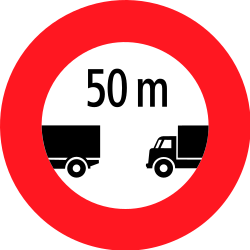 Traffic sign of Switzerland: Leaving less distance than indicated prohibited