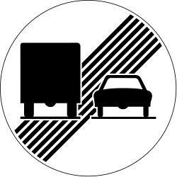 Traffic sign of Switzerland: End of the overtaking prohibition for trucks