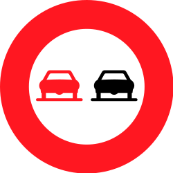 Traffic sign of Switzerland: Overtaking prohibited