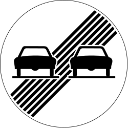 Traffic sign of Switzerland: End of the overtaking prohibition