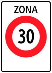 Traffic sign of Switzerland: Begin of a zone with speed limit