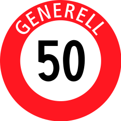 Traffic sign of Switzerland: Driving faster than indicated prohibited (speed limit)