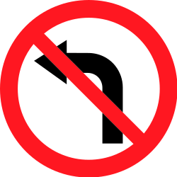 Traffic sign of Switzerland: Turning left prohibited