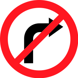 Traffic sign of Switzerland: Turning right prohibited