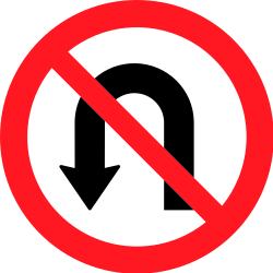 Traffic sign of Switzerland: Turning around prohibited (U-turn)