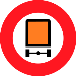 Traffic sign of Switzerland: Vehicles with dangerous goods prohibited