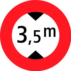 Traffic sign of Switzerland: Vehicles higher than indicated prohibited