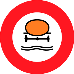 Traffic sign of Switzerland: Vehicles with polluted fluids prohibited