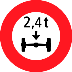 Traffic sign of Switzerland: Vehicles with an axle weight heavier than indicated prohibited