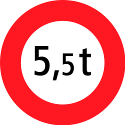 Traffic sign of Switzerland: Vehicles heavier than indicated prohibited