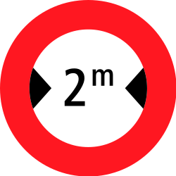 Traffic sign of Switzerland: Vehicles wider than indicated prohibited