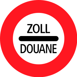 Traffic sign of Switzerland: Entry prohibited (checkpoint)