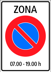 Traffic sign of Switzerland: Begin of zone where parking is prohibited
