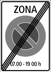 Traffic sign of Switzerland: End of the zone where parking is prohibited