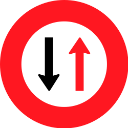Traffic sign of Switzerland: Road narrowing, give way to oncoming drivers