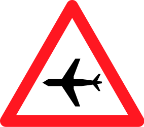Traffic sign of Switzerland: Warning for low-flying aircrafts