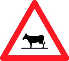 Traffic sign of Switzerland: Warning for cattle on the road