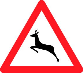 Traffic sign of Switzerland: Warning for crossing deer