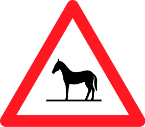 Traffic sign of Switzerland: Warning for wild horses on the road